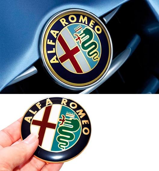 Emblema Alfa Romeo 74mm Aluminio Capô Porta Mala