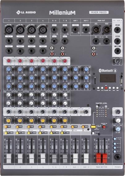 Mesa 8 Canais Ll Áudio Nca Millenium M802d Usb/bluetooth