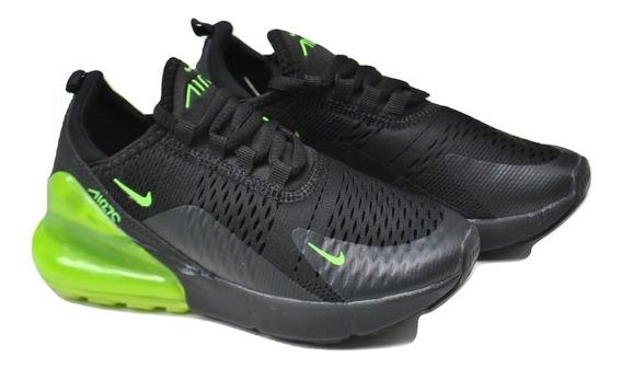 Kp3 Zapatos Niños Niñas Nike Air Max 270 Negro / Verde
