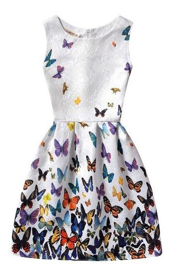 Vestido Niña Primavera Casual Blanco Diseño Mariposas