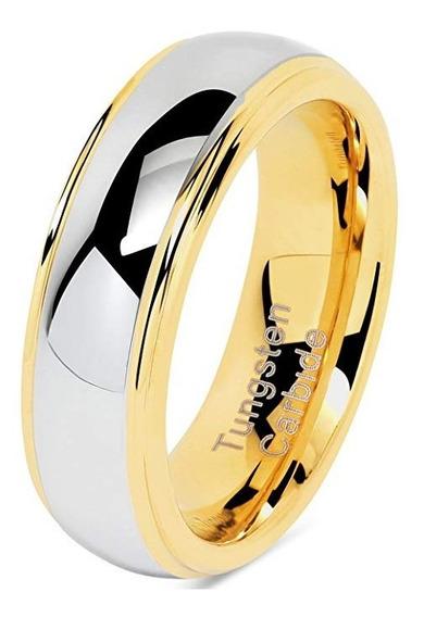 Aliança Casamento Noivado Tungstênio Abaulada Ouro 18k