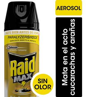 Raid Insecticida Max Mata Cucarachas Y Arañas - 3 Unidades