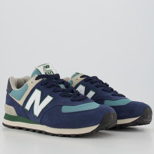 Tênis New Balance 574 Azul Marinho E Verde