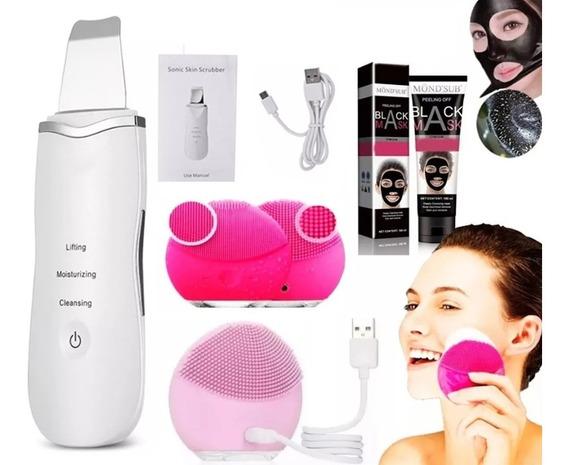 Kit Limpeza Pele Peeling Diamante Esponja Elétrica Máscara