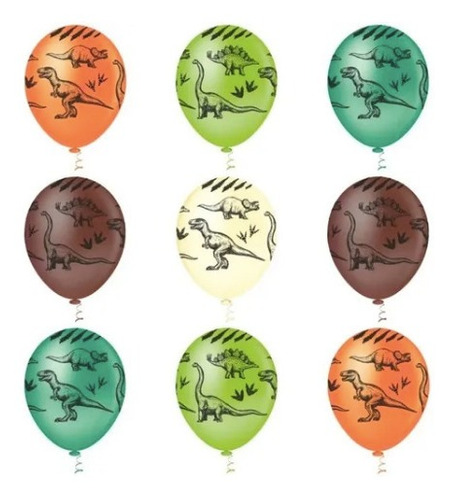 Imagem 1 de 7 de Balão Bexiga Dinossauro - Tam 10 Pic Pic  25 Unid 4u Festas