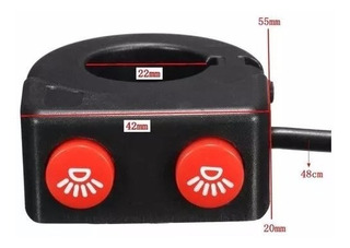 Switch Boton Doble Moto 7/8 Para Auxiliares, Estrobos, Barra