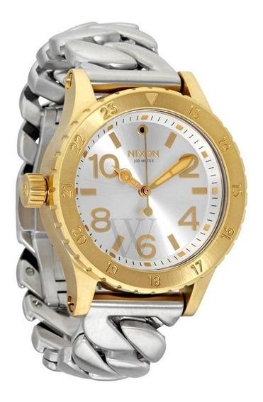 Relógio Nixon A4102281 Dourado Prata Original 38-20 Gold Usa