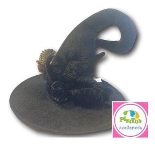 Sombrero Bruja Premium Negro Con Pluma