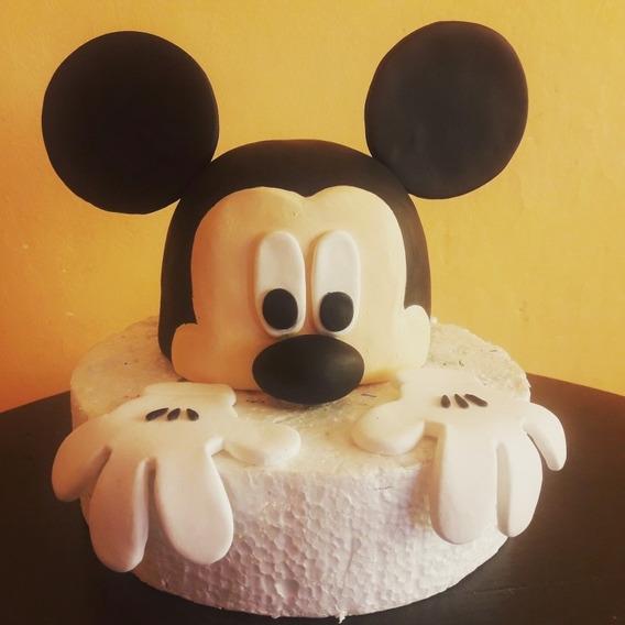 Adorno De Torta Mickey Mousse En Porcelana Fría