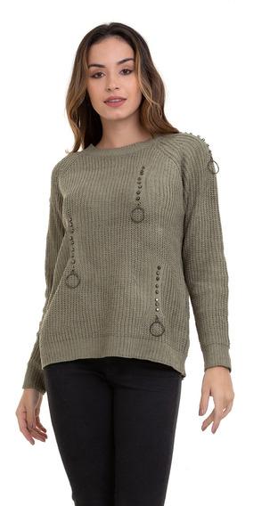 Suéter Kinara Tricot Argola Verde