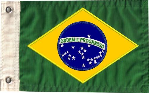 Imagem 1 de 3 de Bandeira Bordada Do Brasil  Para Moto Dupla-face