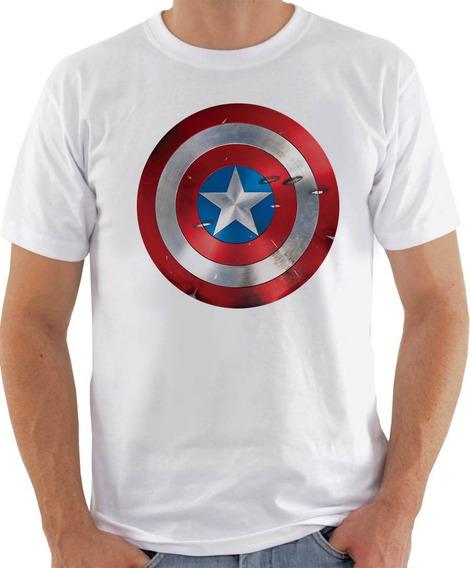 Camiseta Unissex - Escudo Capitão America Marcado-627