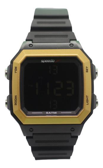 Relógio Masculino Digital Preto E Dourado Quadrado Speedo