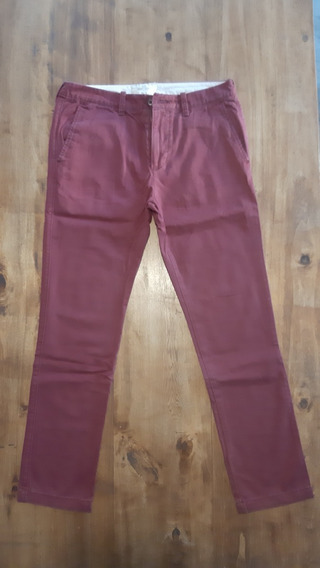 Pantalon Hombre Hollister Talle L Color Bordo -usado-