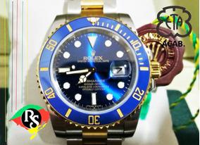 Relógio Submariner Azul Misto Dourado Hip Hop Ceramica