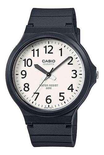 Imagem 1 de 8 de Relógio Casio Unissex Branco Com Preto Mw-240-7bvdf