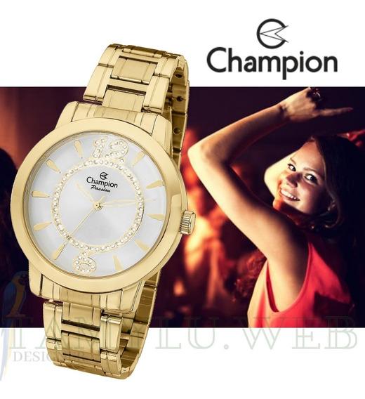 Relógio Champion Feminino Grande Dourado P/ D
