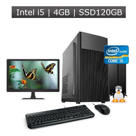 Computador Desktop I5 4gb Ssd 120gb + Kit + Monitor + Nf