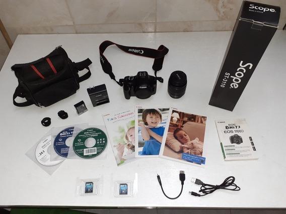Cámara Canon Eos Rebel T3 + Accesorios - 1600 Disparos