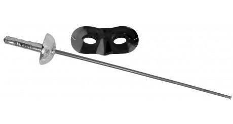 Imagen 1 de 5 de Set Zorro Espada 61cm Plateada Y Mascara 16.5x7