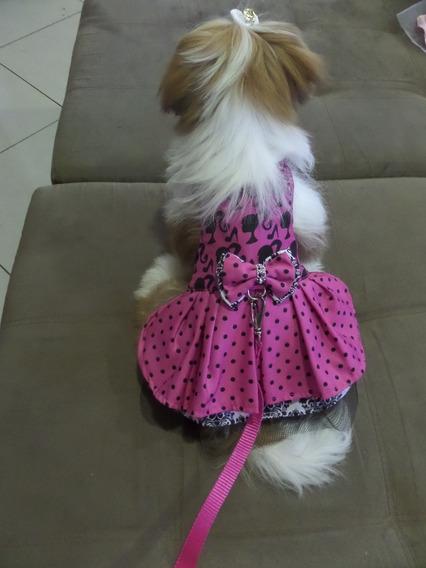 Vestido Barbie Com Guia Dog Cleim Para Cães E Gatos