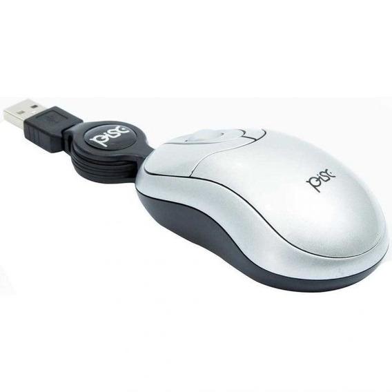 Mouse - Mini Retrátil - Usb Cor Prata