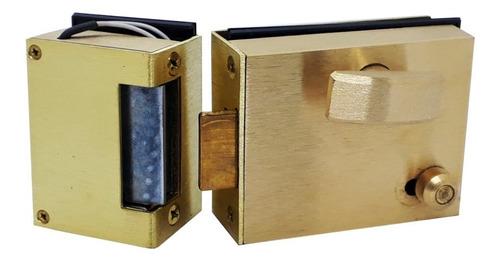 Cerradura Pestillo Eléctrico Blindex Bronce Luber 830