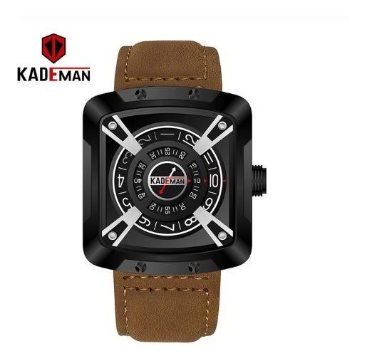 Relógio Kademan Pulseira Em Couro Marrom Claro