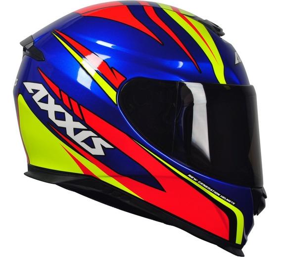 Capacete Moto Gp Axxis Mt Hybrid Gloss Race Blue 900cc Mt09