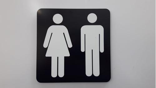 Kit 5 Pçs Placa Indicativa Banheiro