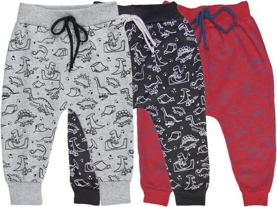 Calça Saruel Moletom Estampado Bebê Menino Kit 3 Peças