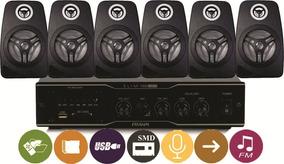 Som Ambiente Frahm Slim1000 Usb Fm+ 6 Caixas Orion 55w Preta