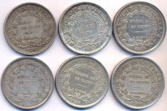 Lote 6 Monedas Bolivia 1/2 Boliviano Plata 1892-1900 Rastra