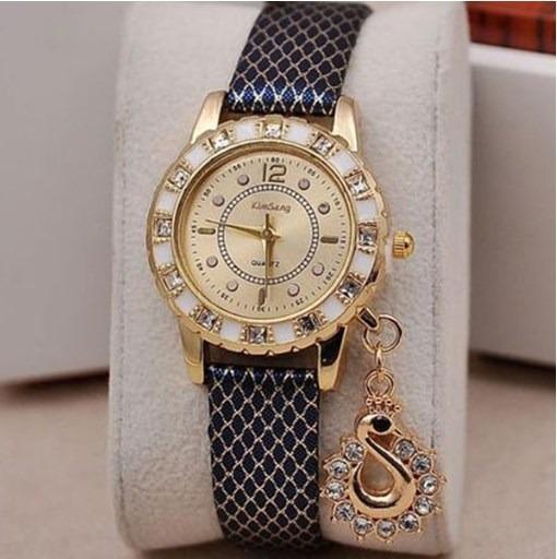 Relógio Feminino Preto E Dourado Pulseira Couro + Brinde