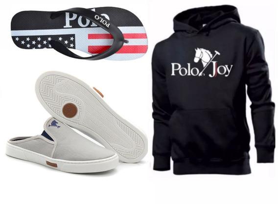 Tênis Masculino Mule Polo Joy Babuche C/ Moletom + Chinelo