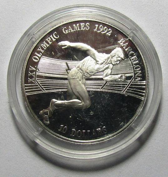 Islas Cook 10 Dolares 1990 Proof Km#79 Juegos Barcelona 1992
