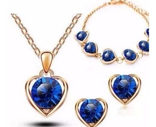 Conjunto Pulseira Brinco Colar Feminino Coração Azul 18k