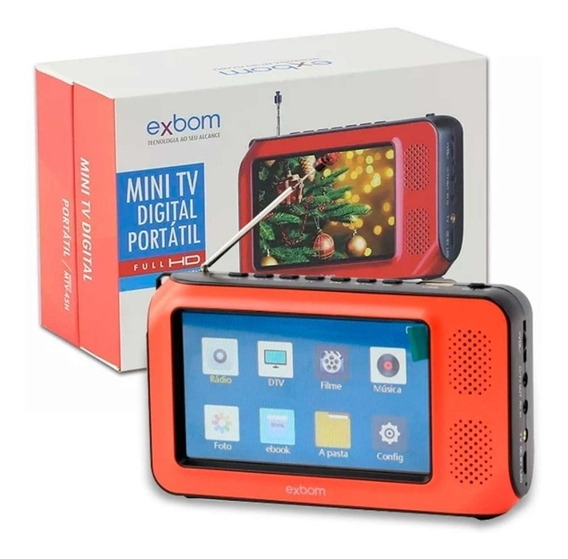 Tv Digital Portatil 4k Mini Multimidia 4,3 Pol Fm Mp4 Tf Usb