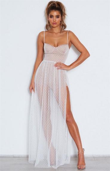 Vestido Blanco De Fiesta Largo Transparente Bodas Noche