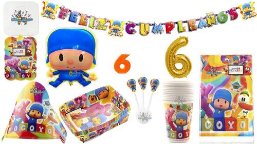 Kit Decoración Fiesta Infantil Pocoyo 12 Personas