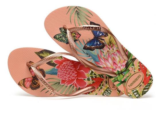 Sandálias Havaianas - Chinelo Feminino Slim Tropical Nude