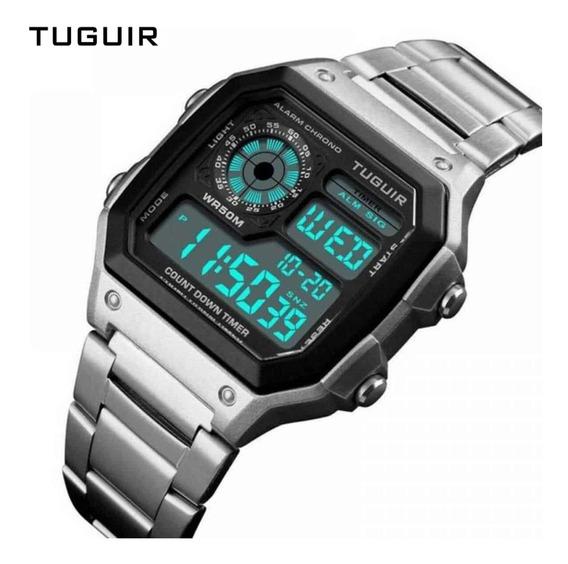 Relógio Digital Prateado Caixa Quadrada + Garantia - Tg1335