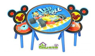 Mesa Y 2 Sillas Infantiles Mickey Mouse En Madera! Nuevo!