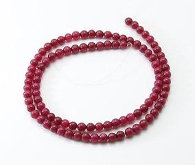 Jade Rubi Vermelho Bola Esfera Lisa 4mm Teostone Colar 1801