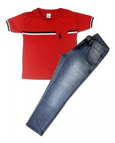 2 Conjuntos Infantil Masculino Menino Camisa E Calça Jeans
