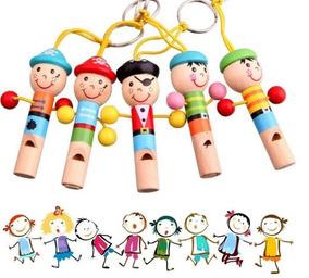 Kit C 3 Apito Madeira Infantil Instrumento Musical P Bebê