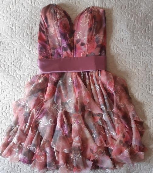 Vestido Festa - Curto - Organza Bordado - Tons Rosa