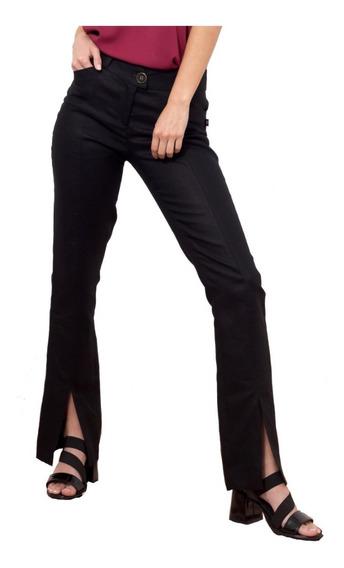 Pantalón Mujer Lino Cintura Doble Cruce Bolsillo Tipo Ojal