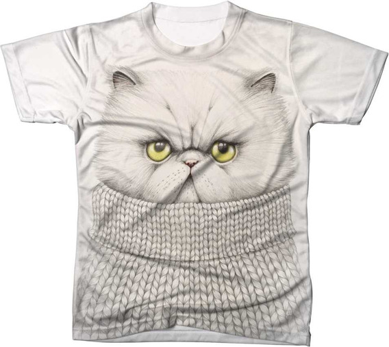 Camisa Camiseta Blusa Animal Gato Cat Branco