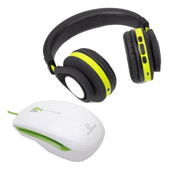 Fone De Ouvido Bluetooth E Mouse Verde Ambidestro